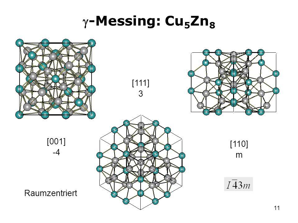 -Messing: Cu5Zn8 [111] 3 [001] -4 [110] m Raumzentriert